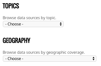 Browse by topic or geographic coverage